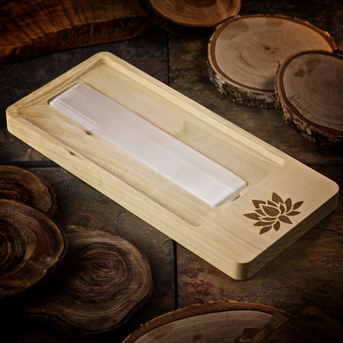Lotus Blossom Crystal Charging Tray with Selenite Bar by Healing Stones for You