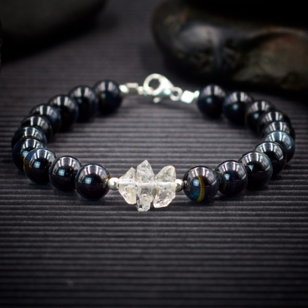 Blue Tiger Eye and Herkimer Diamond Bracelet by Healing Stones for You