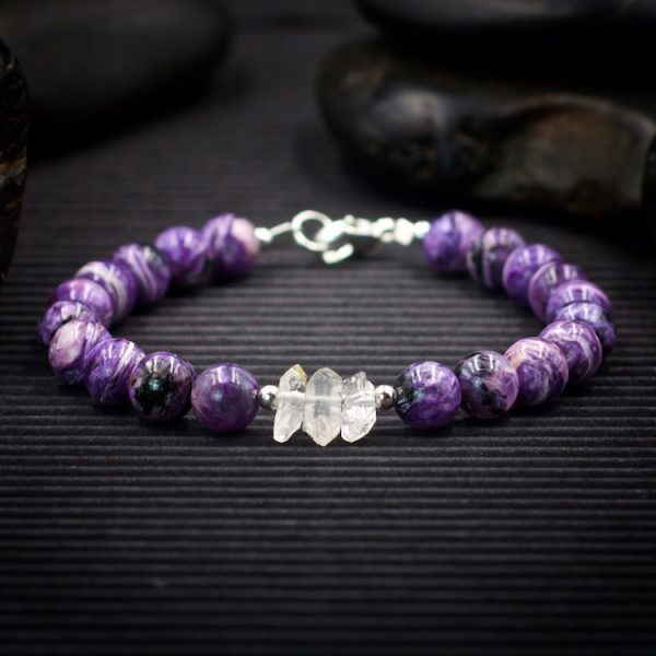 Charoite and Herkimer Diamond Bracelet by Healing Stones for You