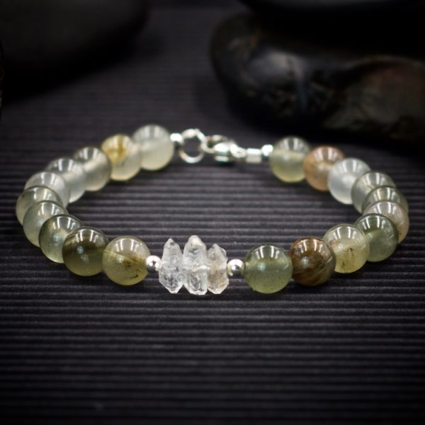 Aragonite and Herkimer Diamond Bracelet by Healing Stones for You