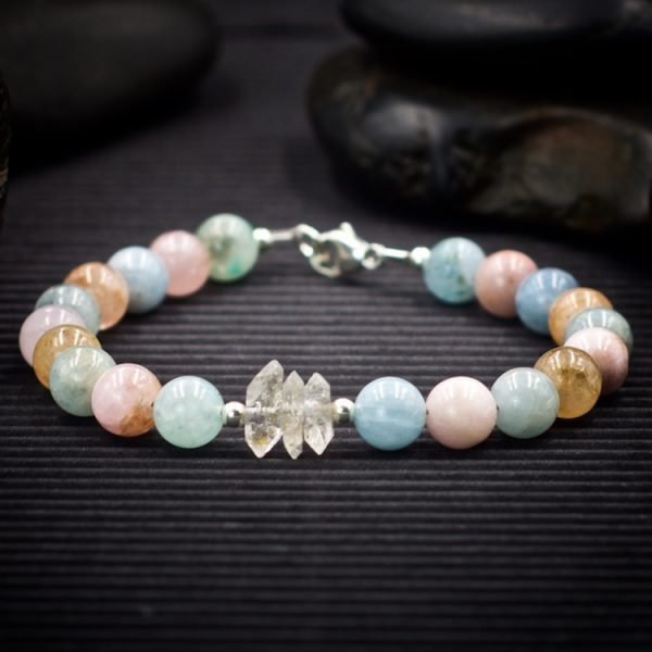 Beryl and Herkimer Diamond Bracelet by Healing Stones for You