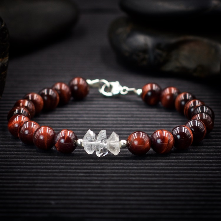 Red Tiger Eye and Herkimer Diamond Bracelet by Healing Stones for You