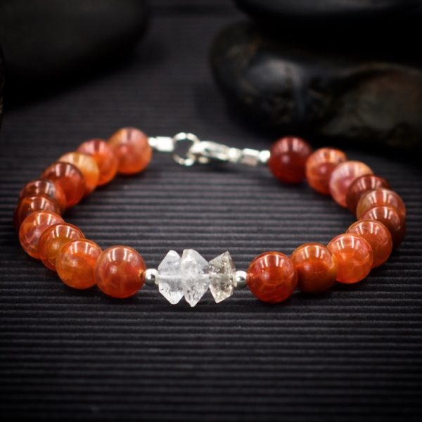 Fire Agate and Herkimer Diamond Bracelet by Healing Stones for You