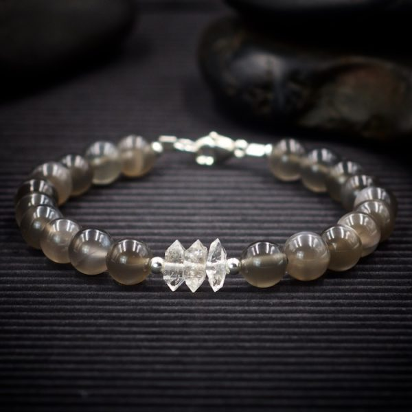 Black Moonstone and Herkimer Diamond Bracelet by Healing Stones for You