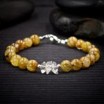 Gold Rutilated Quartz and Herkimer Diamond Bracelet by Healing Stones for You