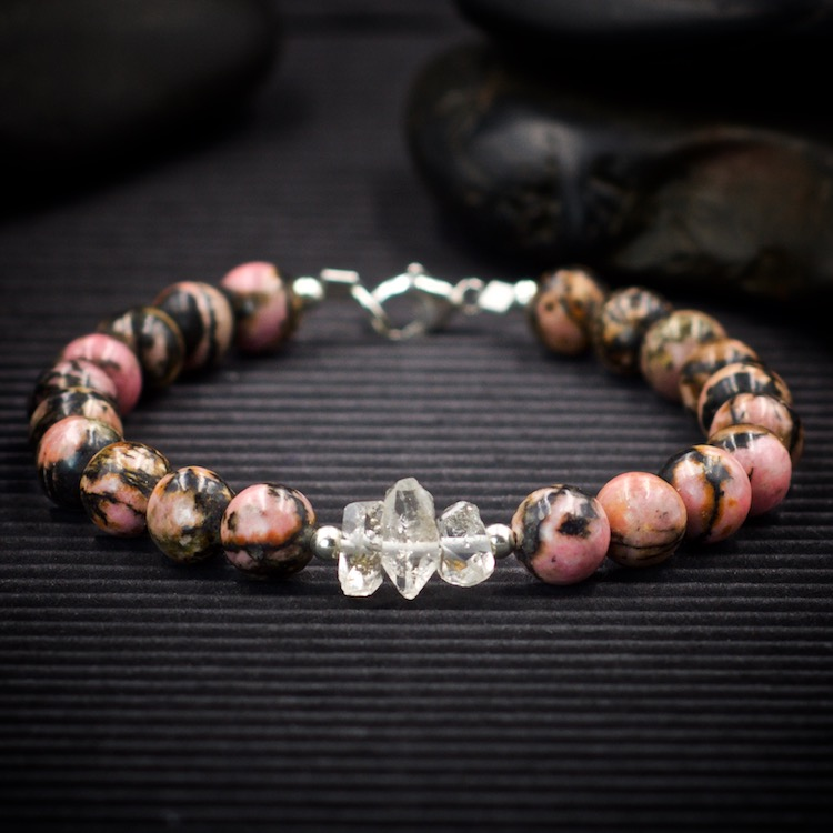 Rhodonite and Herkimer Diamond Bracelet by Healing Stones for You