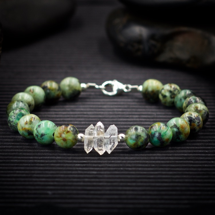 African Turquoise and Herkimer Diamond Bracelet by Healing Stones for You