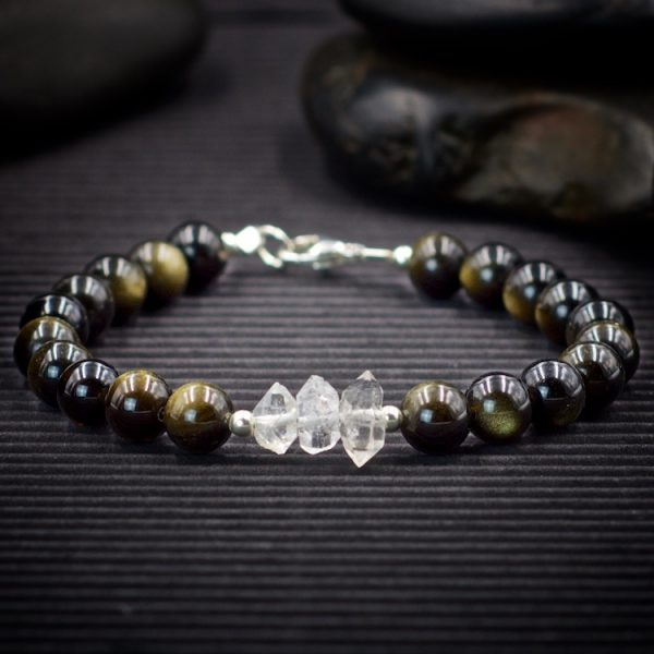 Gold Sheen Obsidian and Herkimer Diamond Bracelet by Healing Stones for You