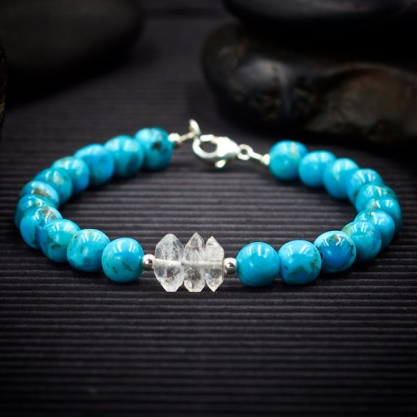 Kingman Turquoise and Herkimer Diamond Bracelet by Healing Stones for You