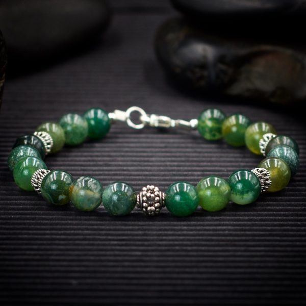 Moss Agate Sterling Silver Bracelet by Healing Stones for You