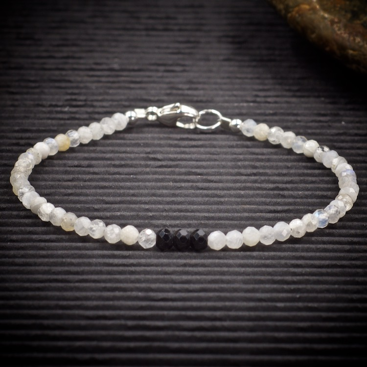 Moonstone and Black Spinel Mini Crystal Bracelet by Healing Stones for You