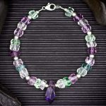 Fluorite Faceted Rondelle and Amethyst Bracelet by Healing Stones for You
