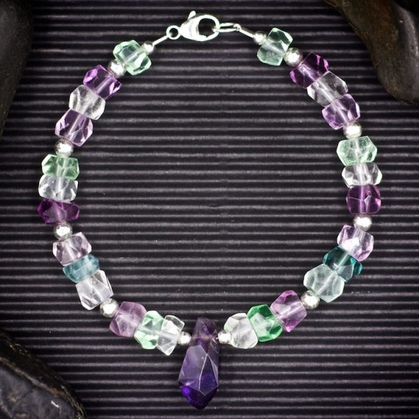 Fluorite and Amethyst Bracelet by Healing Stones for You