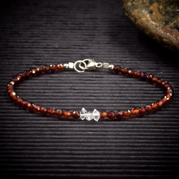 Hessonite Garnet and Herkimer Diamond Mini Crystal Bracelet by Healing Stones for You