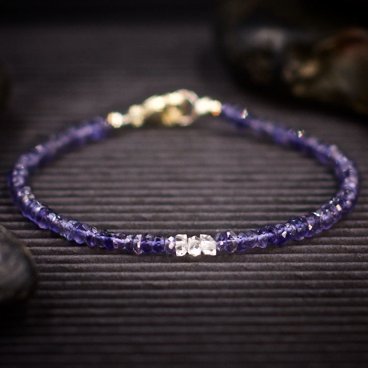 Iolite and Herkimer Diamond Mini Crystal Bracelet by Healing Stones for You