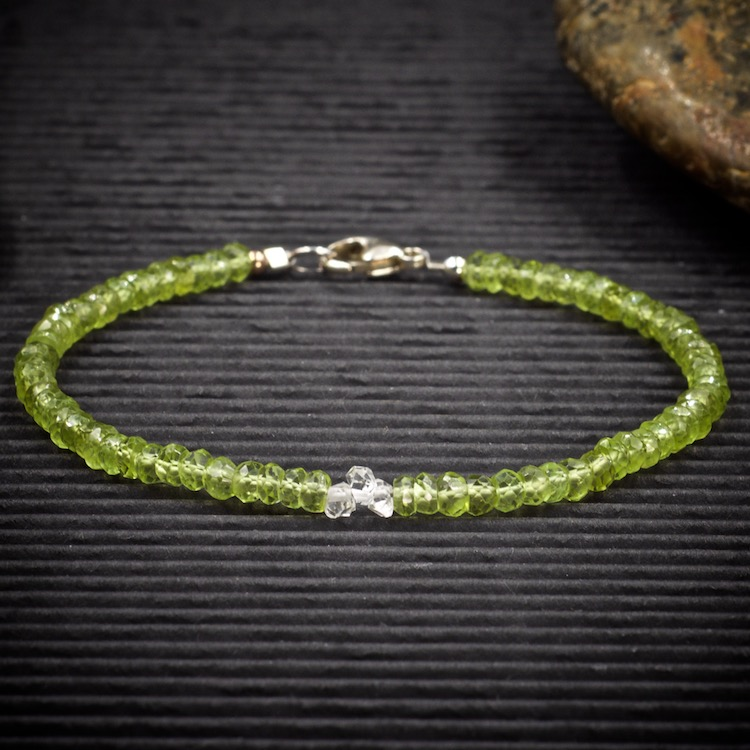Peridot and Herkimer Diamond Mini Crystal Bracelet by Healing Stones for You