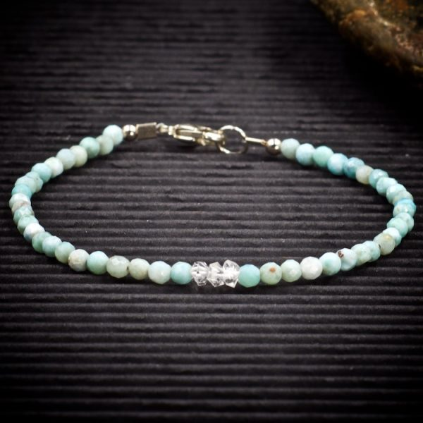 Larimar and Herkimer Diamond Mini Crystal Bracelet by Healing Stones for You
