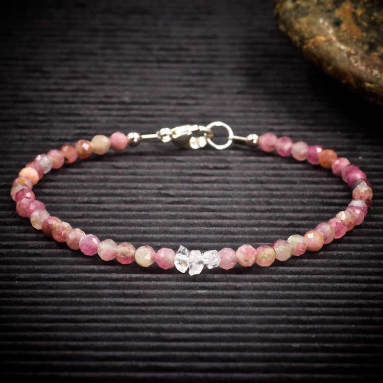 Pink Tourmaline and Herkimer Diamond Mini Crystal Bracelet by Healing Stones for You