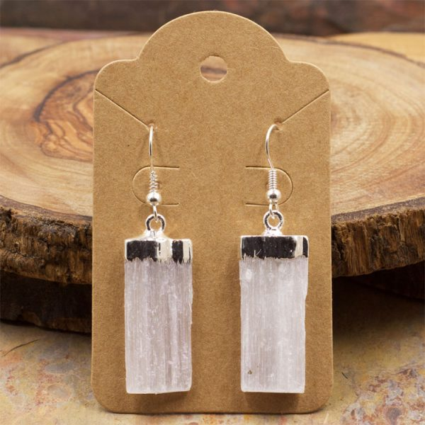 Raw Selenite Earrings by Healing Stones for You