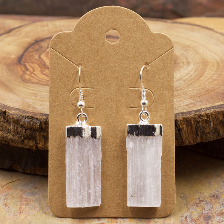 Raw Selenite Crystal Earrings by Healing Stones for You