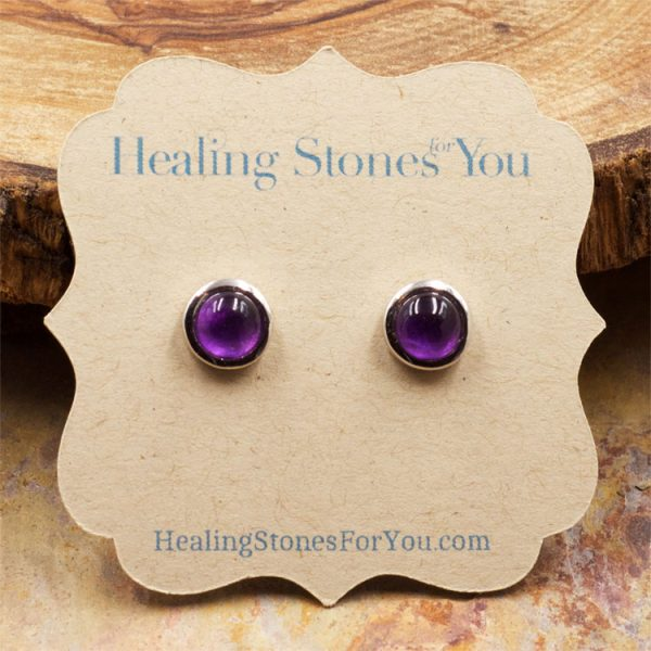 Amethyst and Sterling Silver Stud Earrings by Healing Stones for You