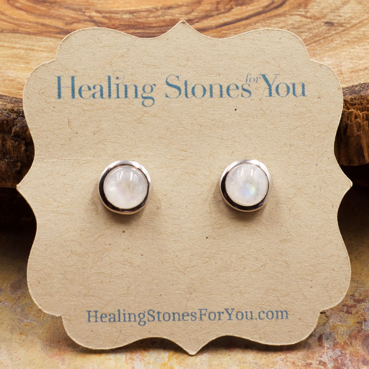 Rainbow Moonstone and Sterling Silver Stud Earrings by Healing Stones for You