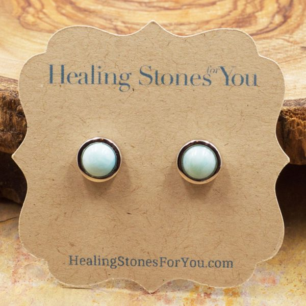 Larimar and Sterling Silver Stud Earrings by Healing Stones for You