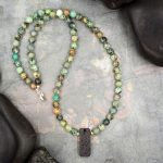 African Turquoise and Lava Rock Aromatherapy Necklace by Healing Stones for You