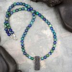 Azurite with Malachite and Lava Rock Aromatherapy Necklace by Healing Stones for You