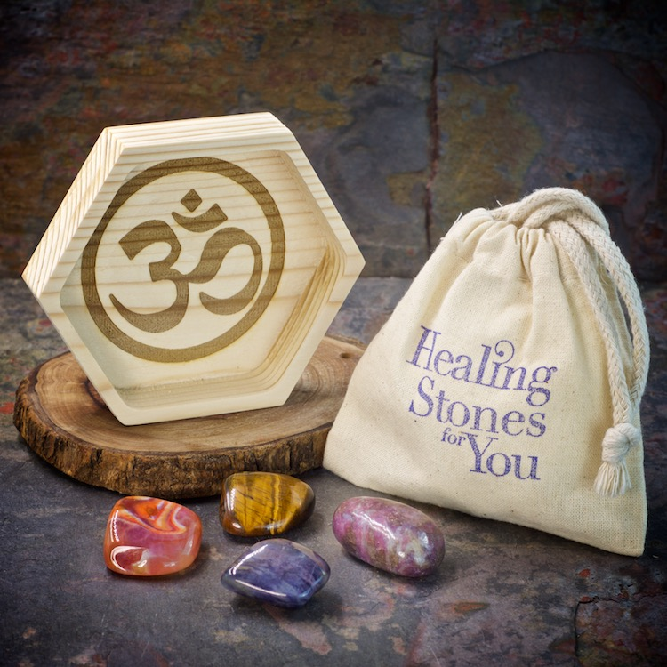 Break Addictions Crystal Healing Set with Wood Dish by Healing Stones for You
