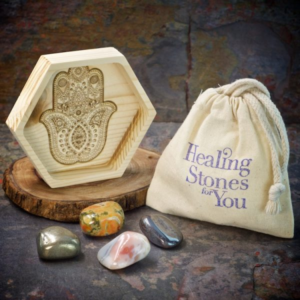 Confidence Boost Crystal Intention Set with Wood Dish by Healing Stones for You