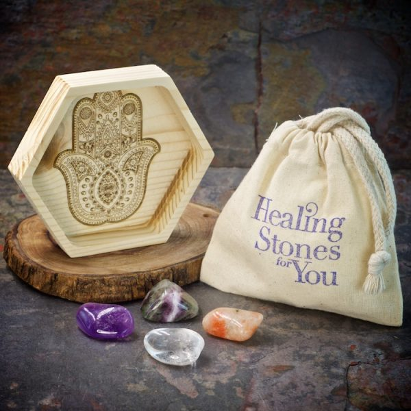 Enhance Intuition Crystal Intention Set with Wood Dish by Healing Stones for You