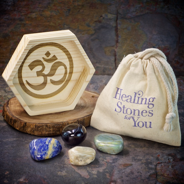 Panic and Anxiety Relief Crystal Healing Set with Wood Dish by Healing Stones for You