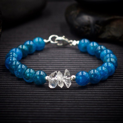 Apatite and Herkimer Diamond Bracelet by Healing Stones for You