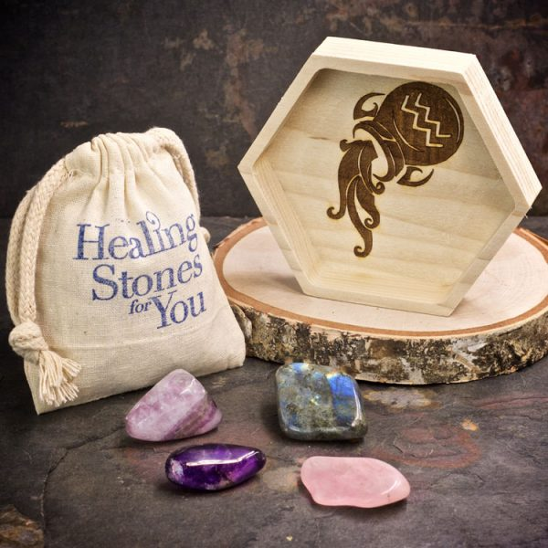 Aquarius Zodiac Crystals with Dish by Healing Stones for You