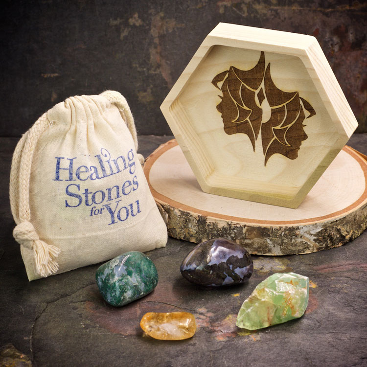 Gemini Zodiac Crystals with Dish by Healing Stones for You