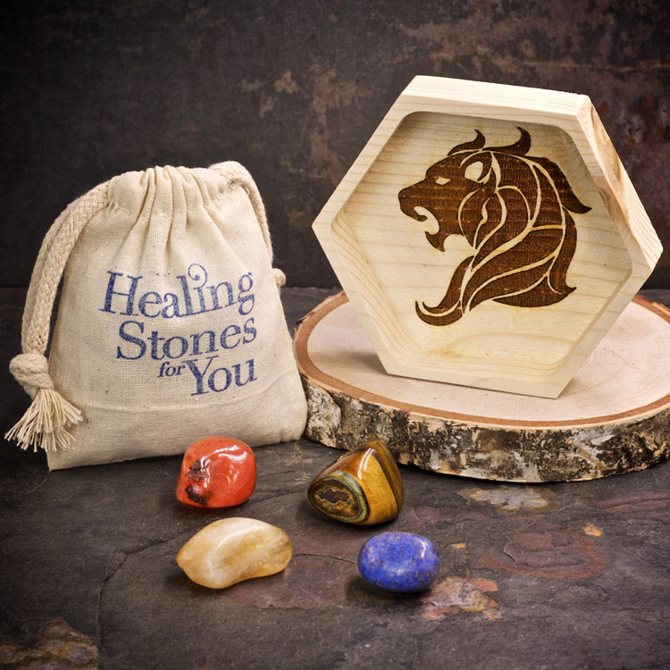 Leo Zodiac Crystals with Dish by Healing Stones for You