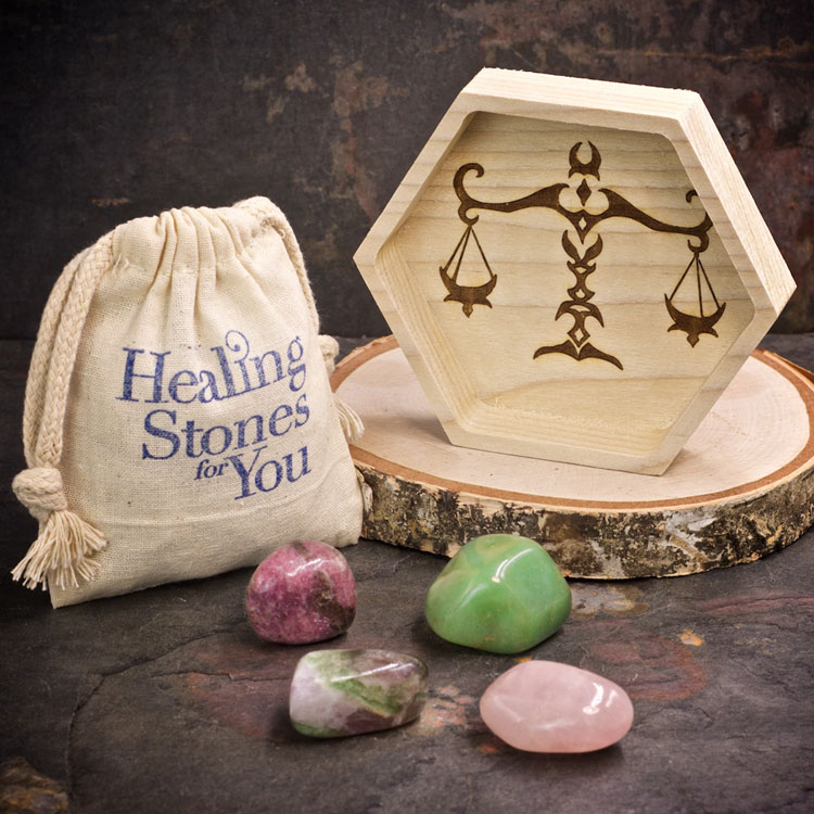 Libra Zodiac Crystals with Dish by Healing Stones for You