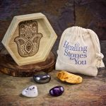 Safe Travels Crystal Intention Set with Wood Dish by Healing Stones for You