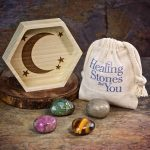 Depression Relief Crystal Healing Set with Wood Dish by Healing Stones for You