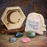 Stress Relief Crystal Healing Set with Wood Dish by Healing Stones for You