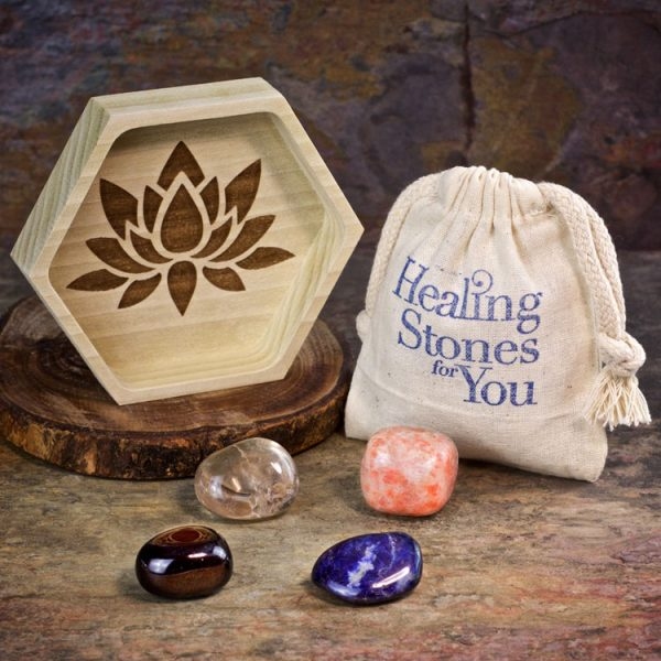 Step Into Your Power Crystal Intention Set with Wood Dish by Healing Stones for You