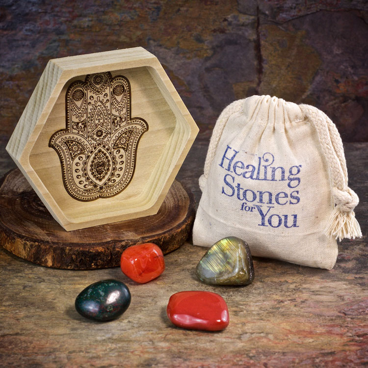 Vitality Boost Crystal Intention Set with Wood Dish by Healing Stones for You