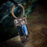 Black Tourmaline and Blue Kyanite Electroformed Pendant from Healing Stones for You
