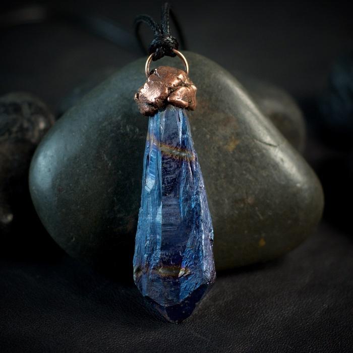 Blue Flame Aura Quartz Electroformed Pendant from Healing Stones for You
