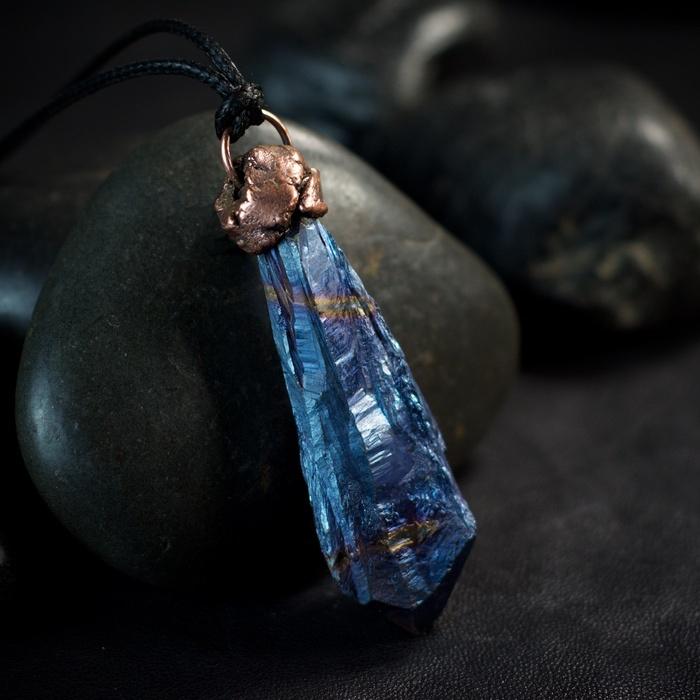 Blue Aura Quartz Electroformed Pendant from Healing Stones for You