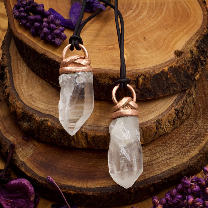 Clear Quartz Small Electroformed Pendant from Healing Stones for You