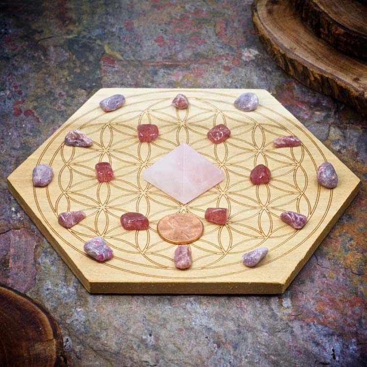 Attract Love Mini Crystal Grid Set by Healing Stones for You