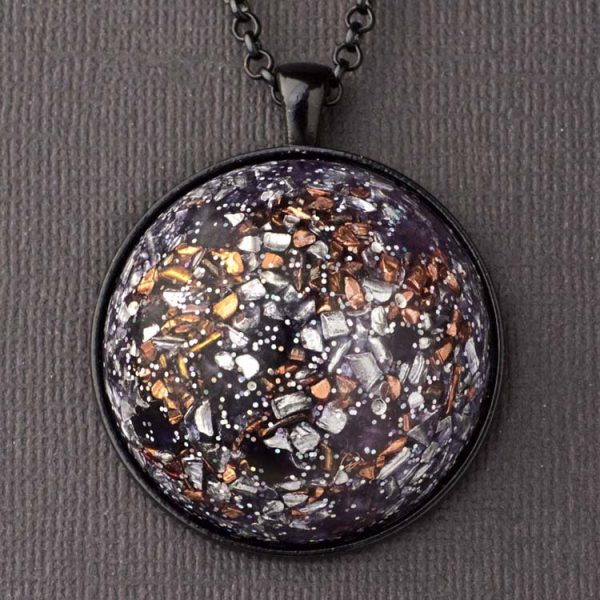 Amethyst and Copper Orgonite® Dome Pendant by Healing Stones for You