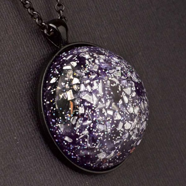 Amethyst and Aluminum Orgonite® Dome Pendant by Healing Stones for You